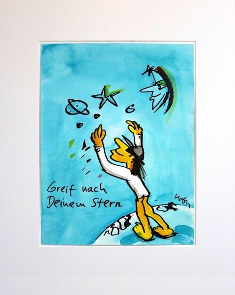 Udo Lindenberg: Greif nach deinem Stern | Mischtechnik auf Papier, Unikat, handsigniert