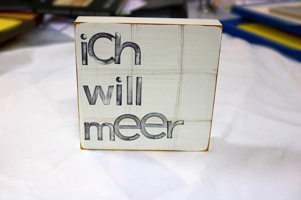 Indra Ohlemutz: ich will meer (15 x 15 cm)