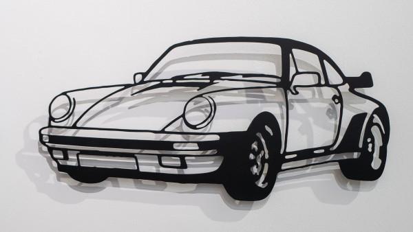 Jan. M. Petersen: Porsche 911er Silhouette, schwarz - Stahlschnitt