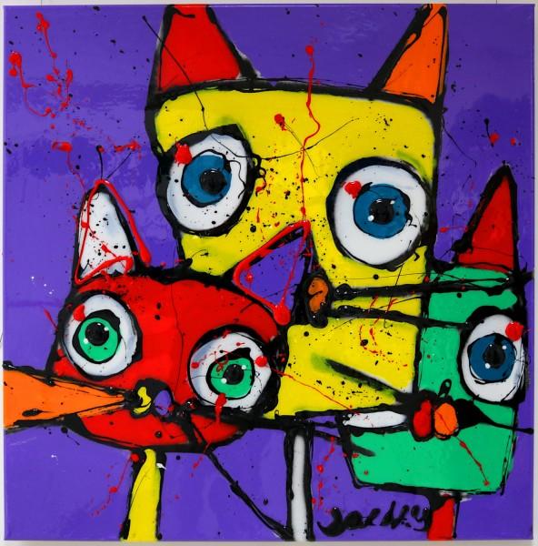 Jacky Zegers: Tricats | 80 x 80 cm | handsigniert