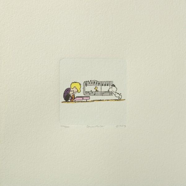 Charles M. Schulz: Peanuts - Schroeder, Woodstock und Snoopy, 01, medium. Original-Radierung
