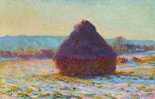 Claude Monet | Getreideschober, Schnee, Sonnenlicht, 1891 | Kunstdruck