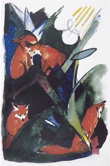 Franz Marc | Vier Füchse, Postkarte an Wassily Kandinsky, 1913
