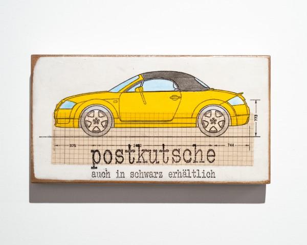 Jan Petersen: Postkutsche auch in schwarz.... Nitrofrottage auf Holz