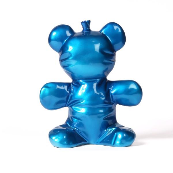 Balloon Bear   Ballonbär Skulptur blue metallic