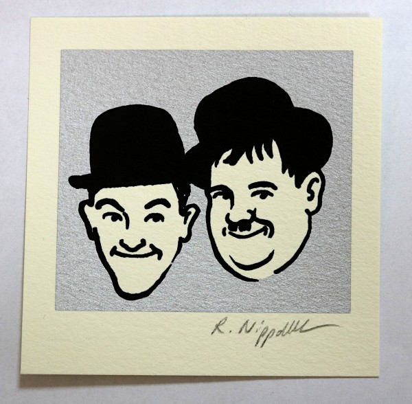 Robert Nippoldt | Laurel & Hardy (Hollywood-Edition) | Siebdruck auf Büttenpapier | silber