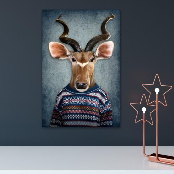 Antilope mit Pulli   Digitaldruck auf Acrylglas