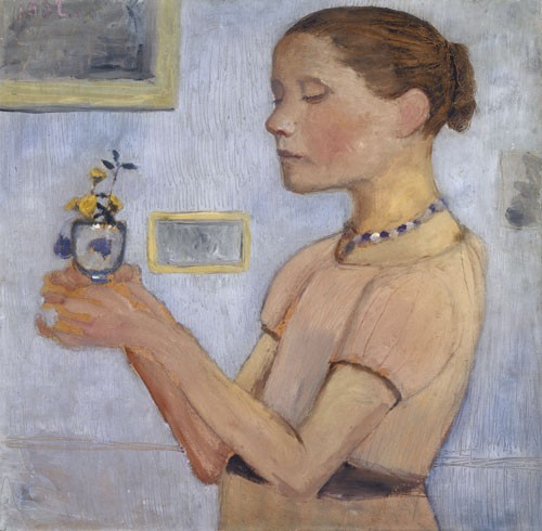 Paula Modersohn-Becker | Junges Mädchen mit gelben Blumen im Glas, 1902