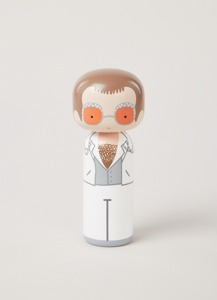 Lucie Kaas: Kokeshi Doll I Elton in white outfit - Puppe, Design von Becky Kemp