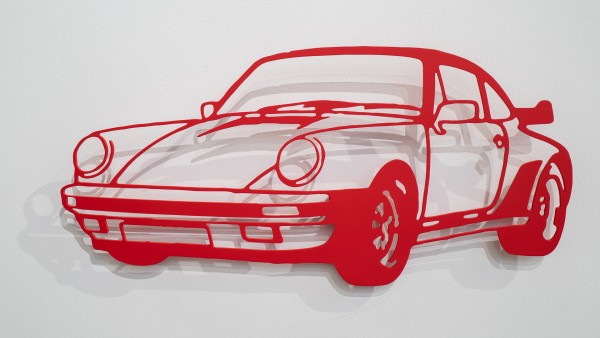 Jan. M. Petersen: Porsche 911er Silhouette, rot | Stahlschnitt