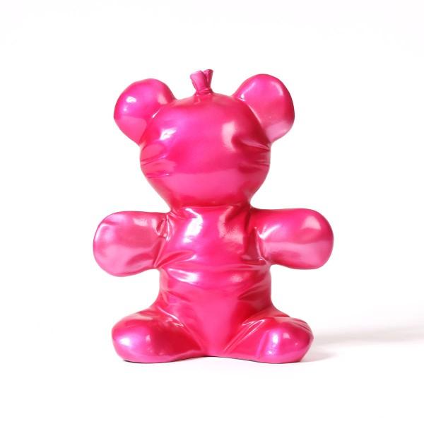 Balloon Bear | Ballonbär Harzskulptur pink metallic