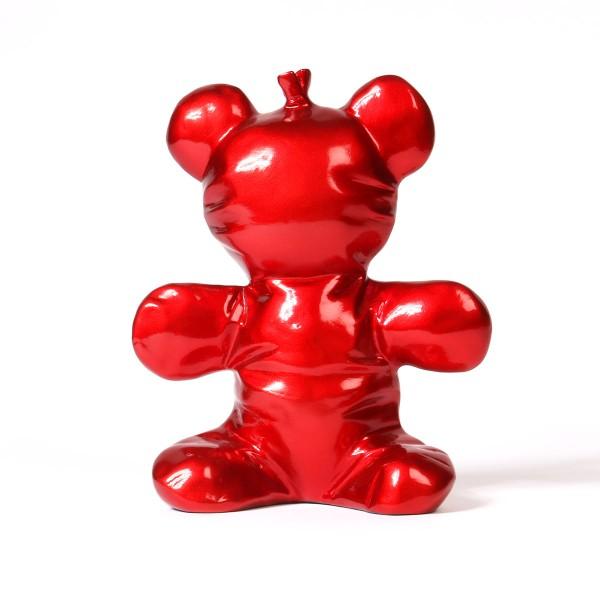 Balloon Bear | Ballonbär Skulptur red metallic