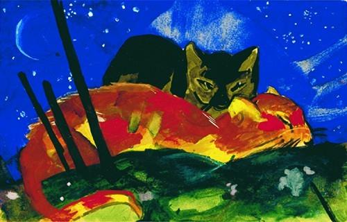 Franz Marc | Zwei Katzen, 1913 | Kunstdruck