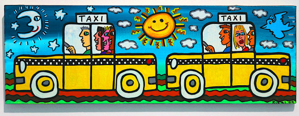 "James Rizzi: ""It's Fun To Drive With The Moon And Sun"", 2009 (Acryl), Unikat (signiert)"