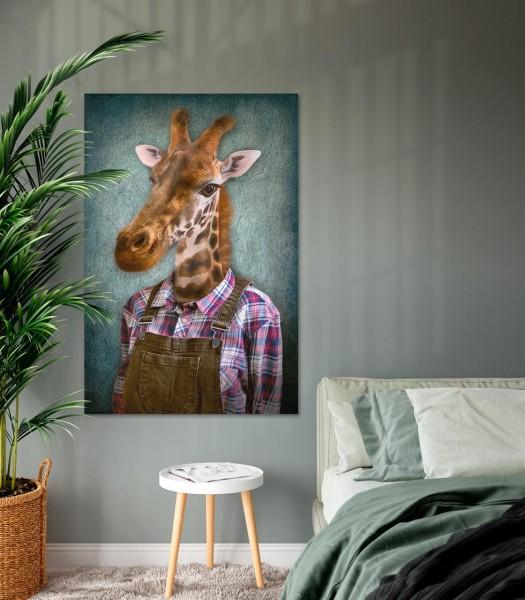 Giraffe mit Latzhose | Digitaldruck auf Acrylglas