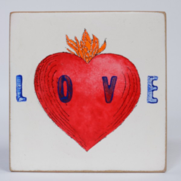 Kati Elm | Love - Nitrofrottage auf Holz