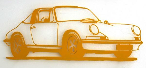 Jan. M. Petersen: Porsche 911er Silhouette, gelb | Stahlschnitt