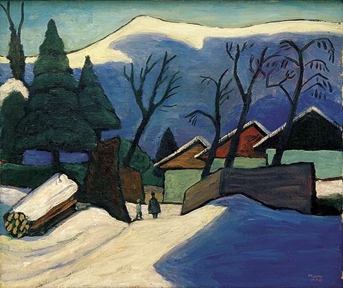 Gabriele Münter | Drei Häuser im Schnee, 1933