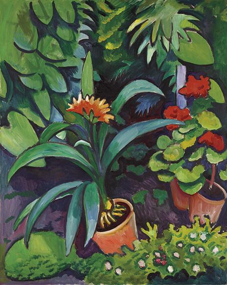 August Macke | Blumen im Garten, Clivia und Pelargonien, 1911