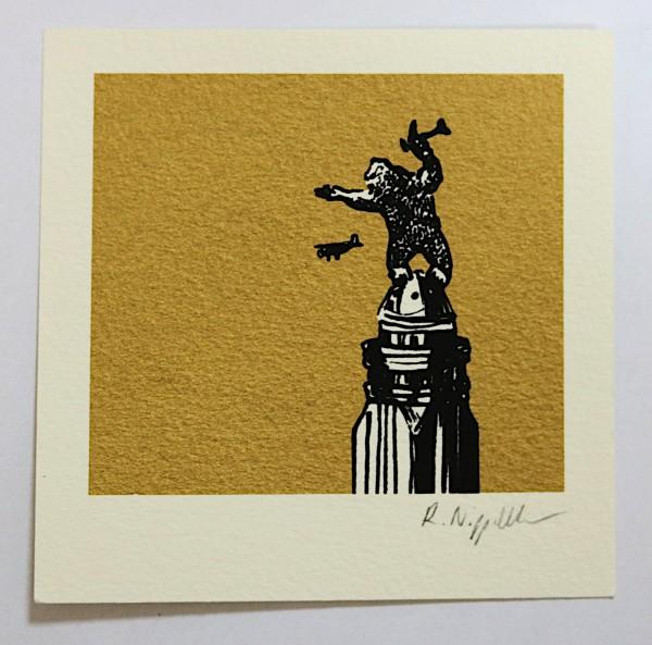 King Kong   Siebdruck   gold