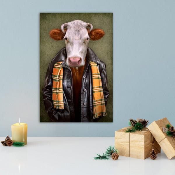 Rind mit Lederjacke | Digitaldruck auf Acrylglas