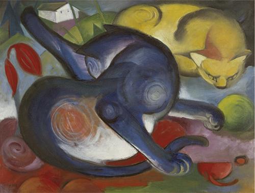 Franz Marc | Zwei Katzen, blau und gelb