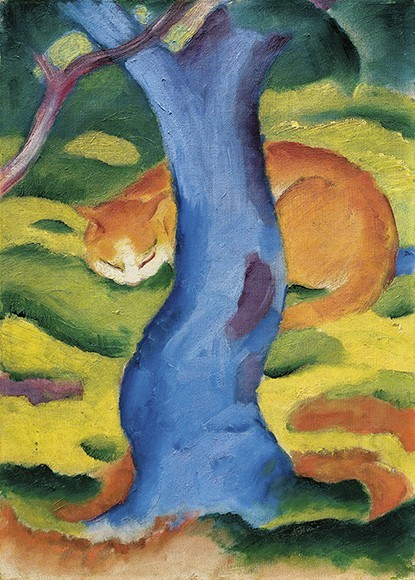 Franz Marc | Katze hinter einem Baum, 1910/11