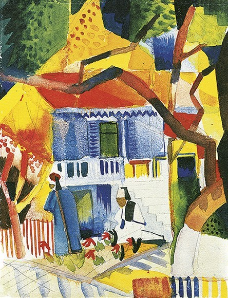 August Macke | Innenhof des Landhauses in St. Germain, 1914