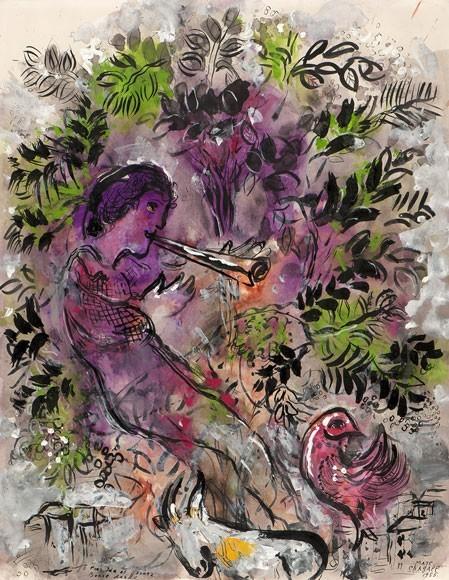 Marc Chagall | Der Junge in den Blumen, 1955