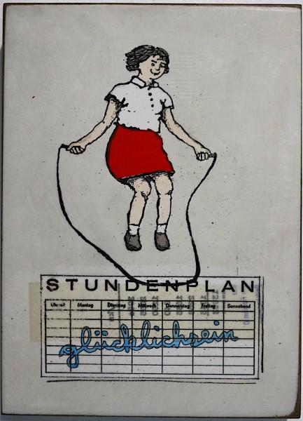 Jan M. Petersen: STUNDENPLAN glücklichsein, 2018, signiert