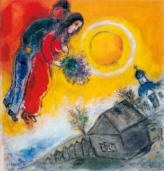 Marc Chagall | Das Paar am gelben Himmel, 1948