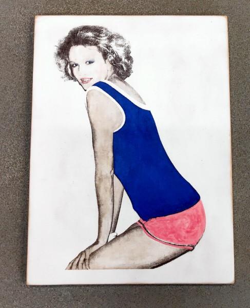 Kati Elm: Frau in Blau und Rosa, Limited Edition, 2016