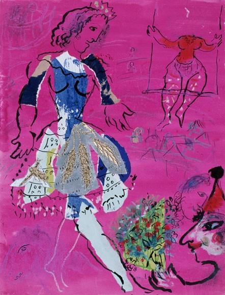 Marc Chagall | Tänzerin vor malvenfarbigem Hintergrund