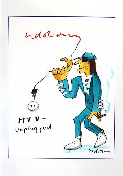 Udo Lindenberg: MTV unplugged | Mischtechnik auf Papier, Unikat, handsigniert-Copy