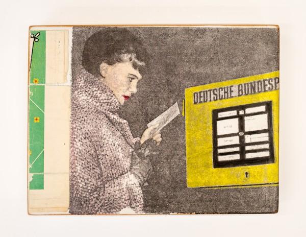 Kati Elm: Deutsche Bundespost Nitrofrottage auf Holz