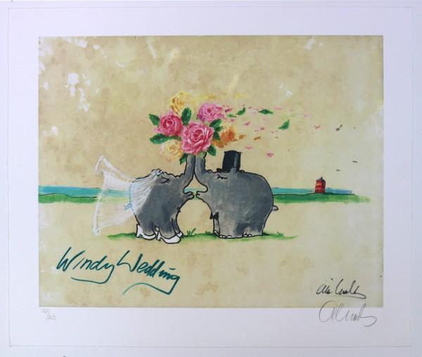 Otto Waalkes: Windy Wedding | Farblithografie, handsigniert