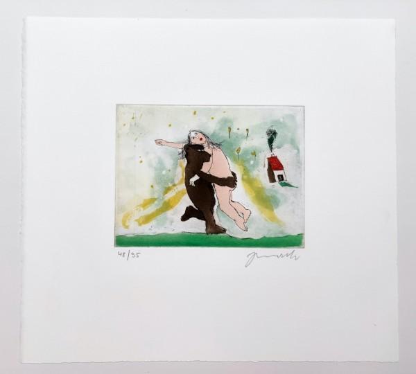 Janosch I Der Bär, der Bär, der wiegt nicht schwer I Original-Farbradierung I Limitiert, Handnummeri