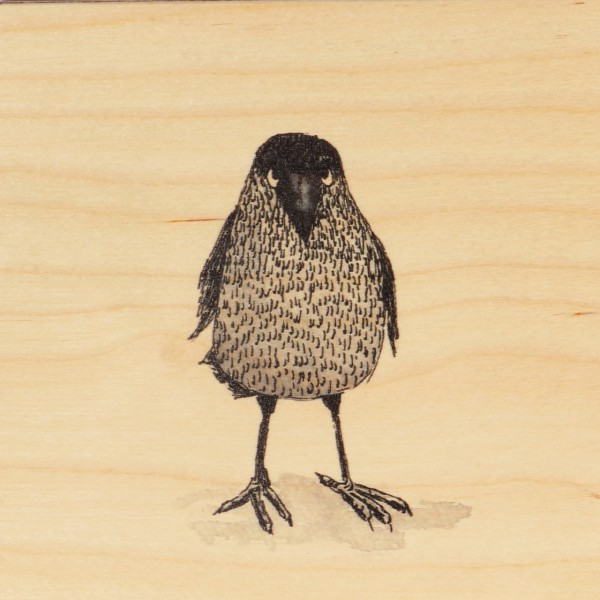 Ask a Duck   Holzbild - Krähe stehend