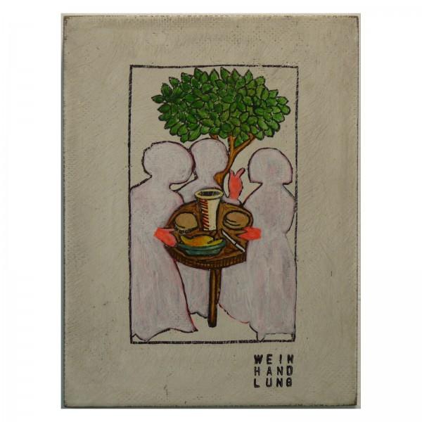 Kati Elm: weinhandlung, Nitrofrottage auf Holz