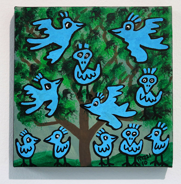 "James Rizzi: ""Blue Birds"", 2010 (Acryl), Unikat (signiert)"