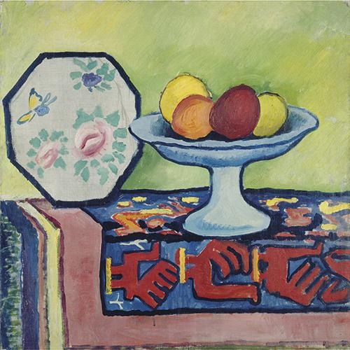 August Macke | Stillleben mit Apfelschale und japanischem Fächer, 1911