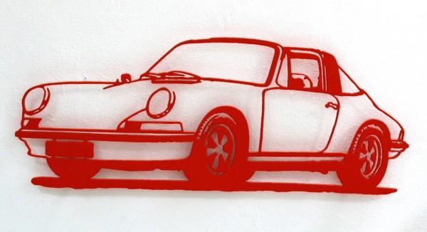 Jan. M. Petersen: Porsche 911er Silhouette, orange | Stahlschnitt