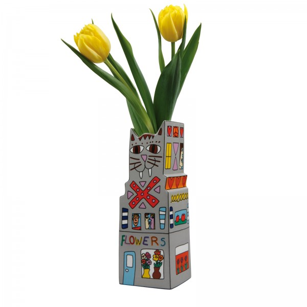James Rizzi: Cat a Flower. Vase